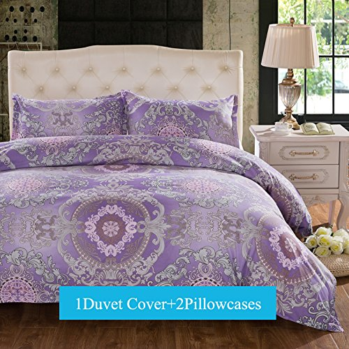 Purple Bedding King size - Duvet Cover Sets King Size 3-pieces , Purple Floral Lavender Boho Bohemia Exotic Patterns Design,Without Comforter (King, (1Duvet Cover+2Pillowcases)#02)