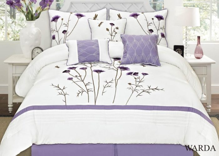 Purple and White Bedding - Fancy Collection 7-pc Embroidery Bedding Off White Purple Lavender Comforter Set (King)