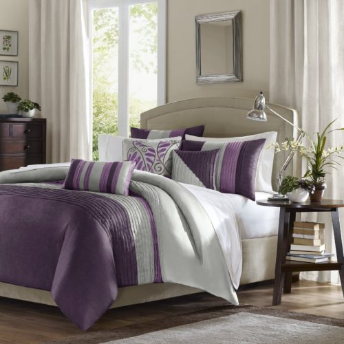 Purple and Grey Bedding - Madison Park 7 Piece Comforter Set, California King - Purple