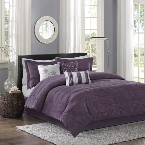 Madison Park Hampton 7 Piece Purple Comforter Sets Queen, Plum