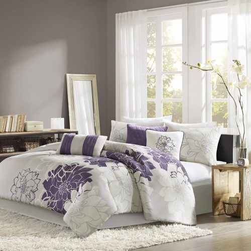 Purple and Grey Bedding - Madison Park Lola 7 Piece Print Comforter Set, King, Grey-Purple