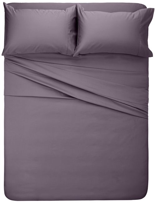 Purple Satin Bedding - Pinzon 400-Thread-Count Egyptian Cotton Sateen Hemstitch Sheet Set - Full, Pale Purple