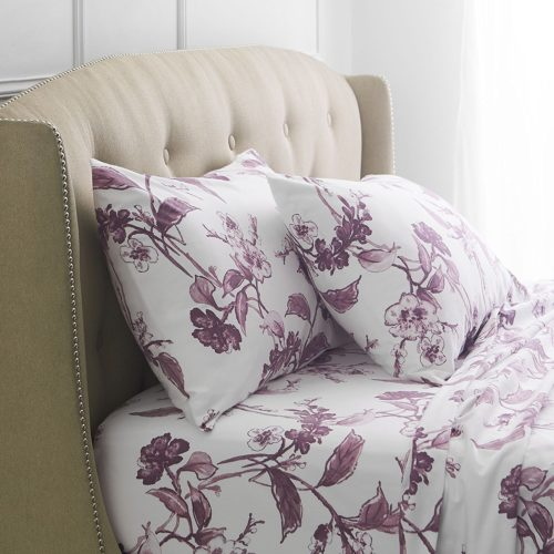 Pinzon Signature 190-Gram Cotton Heavyweight Velvet Flannel Sheet Set - Cal King, Floral Amethyst