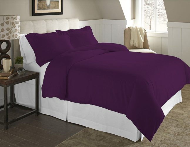 Pointehaven 3-Piece 200 GSM Flannel Duvet Cover Set, Full-Queen, Solid, Plum