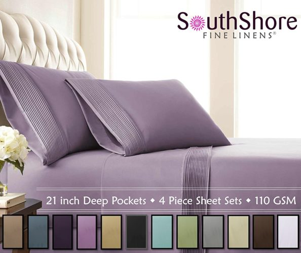 Purple Bedding King Size - Southshore Fine Linens - 4 Piece - Extra Deep Pocket Pleated Sheet Set , KING , LAVENDER