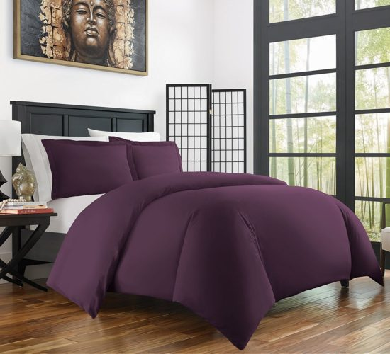 Best Bamboo Bedding - Zen Bamboo Ultra Soft 3-Piece Rayon Derived Bamboo Duvet Cover Set - Hypoallergenic and Wrinkle Resistant - Full-Queen - Purple