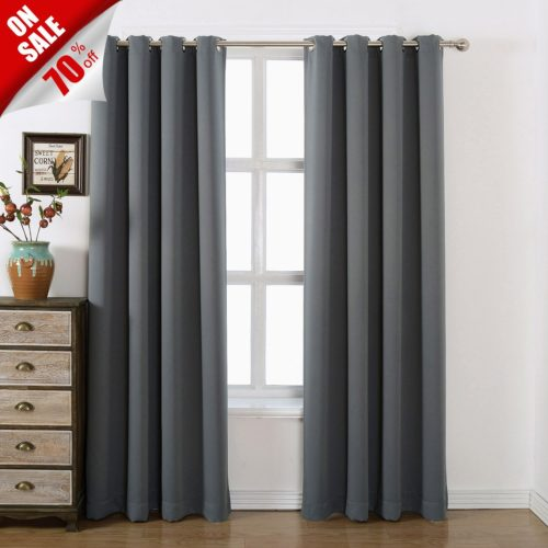 AMAZLINEN 52x84-Inch Grommet Top Blackout Curtains with Tie Back, Charcoal Grey Curtains (Set of 2)