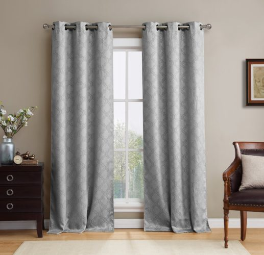 HLC.ME Lattice Thermal Blackout Grommet Top Window Curtain Panels - Pair - 38 X 84 (each panel) inch Long (Light Grey curtains)