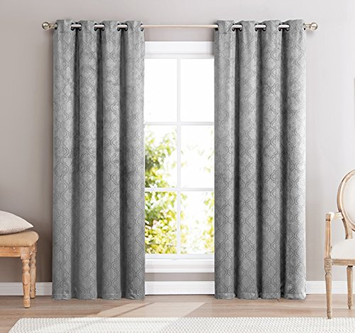 HLC.ME Redmont Lattice Wide-Width Thermal Blackout Grommet Curtain Panel - 84 inch Long (Light Matching Grey Curtains)