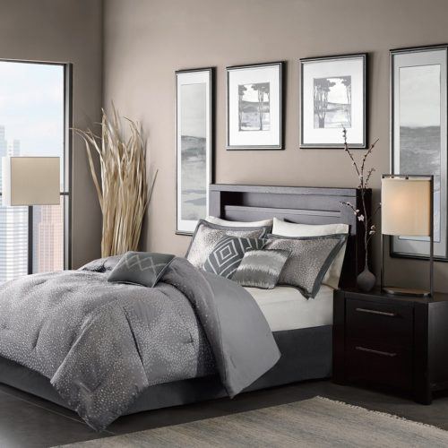 Madison Park MP10-922 Quinn 7 Piece Comforter Set, Queen, Grey Bedding