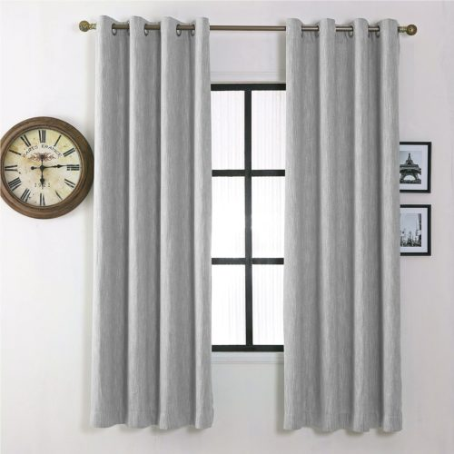 Melodieux Elegant Cotton Blackout Thermal Insulated Grommet Top Curtains Drapes for Bedroom, 52 by 84 Inch, Grey Bedding