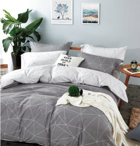 Minimal Style Geometric Shapes Duvet Quilt Cover Modern Scandinavian Design Bedding Set (King, Light Grey Bedding)