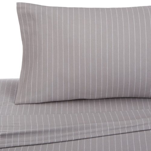 Grey Bedding and Matching Curtains - Pinzon 160 Gram Pinstripe Flannel Sheet Set - Twin XL, Grey Pinstripe