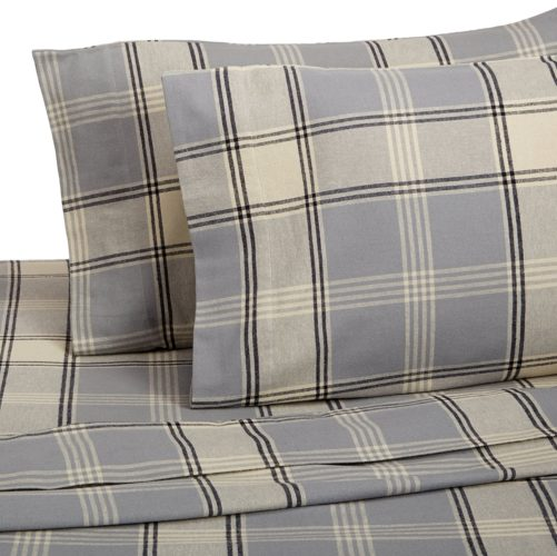 Pinzon 160 Gram Plaid Flannel Sheet Set - Twin, Grey Plaid - Grey Bedding and Matching Curtains