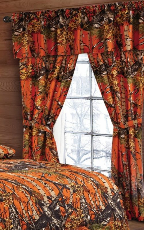 Camo Bedding Sets - 20 Lakes Woodland Hunter Camo Valance, Panels, & Tie Backs Curtain Drape Set Five Pieces (Orange)