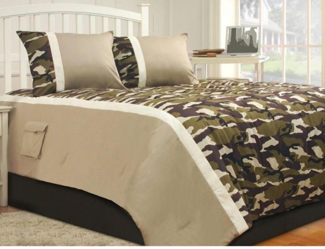 3 Piece Military Camouflage Design Comforter Set King Size, Camo Patterned Comfortable Bedding, Contemporary Playful Boys Teens Bedroom Decor, Tan, Green, Mult