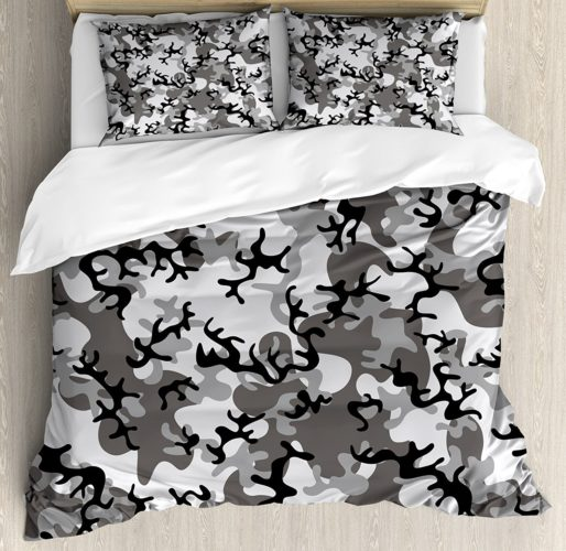Camo Duvet Cover Set by Ambesonne, Battledress Concept Concealment, 3 Piece Bedding Set with Pillow Shams, Queen - Full, Black Grey Silver