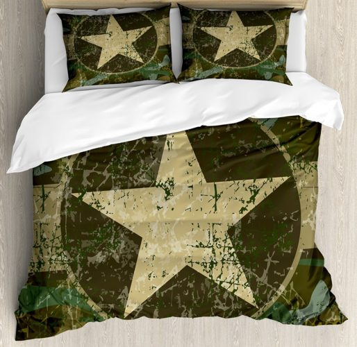 Camo Duvet Cover Set by Ambesonne, Grunge Dusty Dirty Design with a Star in Circle Undercover War Theme, Queen - Full, Army Green Beige Dark Brown