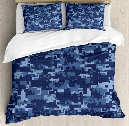 Camo Duvet Cover Set by Ambesonne, Militaristic Digital Effected Armed Forces Pattern Grunge Fashion in Blue, Queen - Full, Dark Blue Light Blue