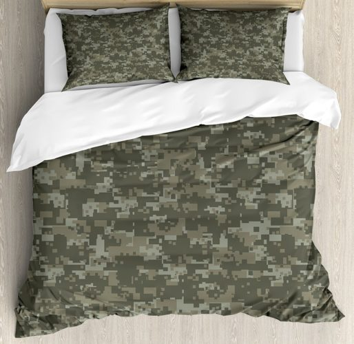 Camouflage Duvet Cover Set Queen Size by Ambesonne, Monochrome Military Attire Pattern Concealing Hiding in the Woods, Army Green Sage Green