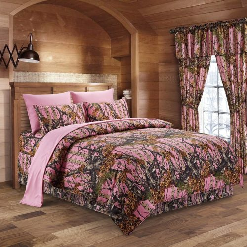 The Woods Pink Camouflage Twin 5pc Premium Luxury Comforter, Comfort Camo Bedding Set For Hunters Cabin or Rustic Lodge Teens Boys and Girls