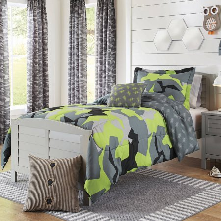 Military Camo Bedding Sets - Unique and Adventurous Better Homes and Gardens Kids Camo Lime Bedding Comforter Set, , Lime-Grey-Black (Twin - Twin XL)