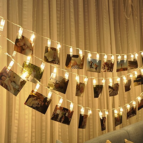 30 LED Photo Clips String Lights, Wedding Party Christmas Indoor Home Decor Lights for Hanging Photos, Cards, Memos and Artwork, 10.5 ft Battery Powered Warm White