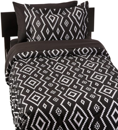 twin xl bedding sets for dorms - AmazonBasics 5-Piece Bed-In-A-Bag - Twin-Twin Extra-Long, Black Aztec