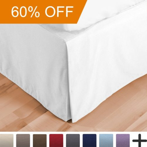 Dorm Bed Skirt Double Brushed Premium Microfiber, 15-Inch Tailored Drop Pleated Dust Ruffle, 1800 Ultra-Soft, Shrink and Fade Resistant (Twin XL, White)