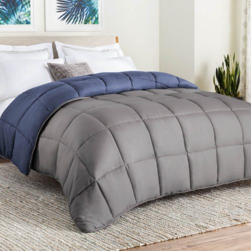 best college dorm bedding - LINENSPA All-Season Reversible Down Alternative Quilted Comforter - Corner Duvet Tabs - Hypoallergenic - Plush Microfiber Fill - Box Stitched - Machine Washable - Graphite - Twin