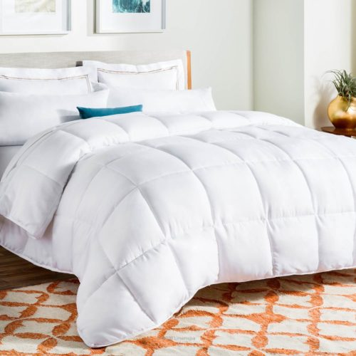 best college dorm bedding - LINENSPA All-Season White Down Alternative Quilted Comforter - Corner Duvet Tabs - Hypoallergenic - Plush Microfiber Fill - Machine Washable - Duvet Insert or Stand-Alone Comforter