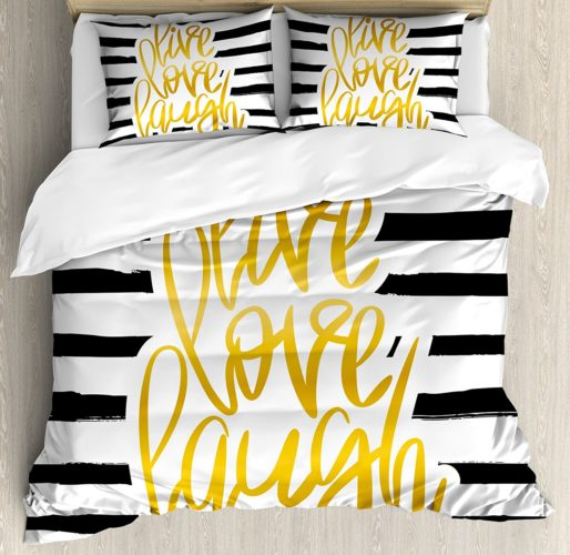 best college dorm bedding - Live Laugh Love Duvet Cover Set Twin XL Size by Ambesonne, Romantic Poster Design with Hand Drawn Stripes and Calligraphy