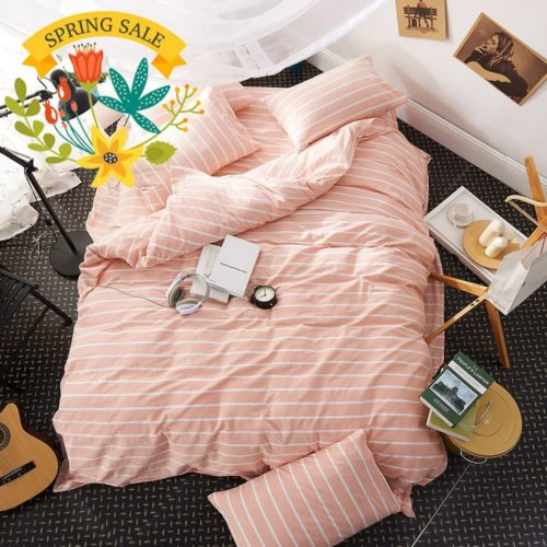 Dorm Bedding Sets - Pink Duvet Cover Twin Striped Duvet Cover Washed Cotton Girls Duvet Cover Set 3 Piece Kids Twin Bedding Set 1 Duvet Cover with 2 Pillow Shams