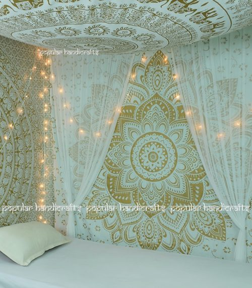 best college dorm bedding - Popular Handicrafts Kp715 The Passion Gold Ombre Tapestry Indian Mandala Wall Art, Hippie Wall Hanging, Bohemian Bedspread (140x215cms) Gold on White
