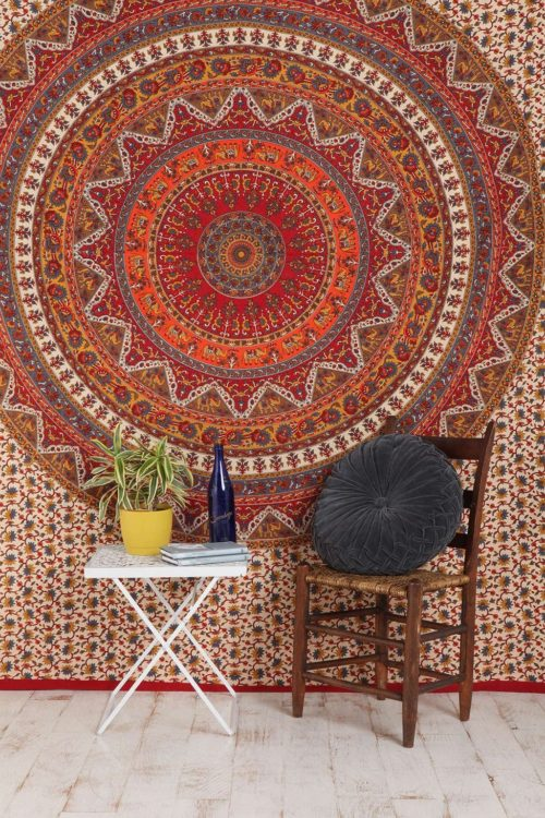best college dorm bedding - Popular Handicrafts Mandala Bohemian Psychedelic Intricate Floral Design Kerala Tapestry Magical Thinking Tapestry Indian Bedspread Tapestry 54x84 Inches,(140cmsx215cms) Red