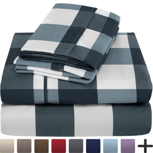 best college dorm bedding - Premium 1800 Ultra-Soft Microfiber Sheet Set Twin Extra Long - Hypoallergenic, Easy Care, Wrinkle Resistant (Twin XL, Gingham Blue)