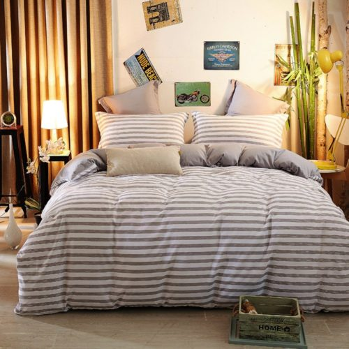 ZHIMIAN Reversible 2 Piece Striped Print Duvet Cover Set with Zipper Closure(1 Duvet Cover + 1 Pillow Sham),Ultra Soft(Twin Gray)