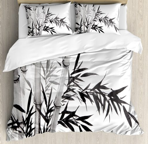 Ambesonne Bamboo Duvet Cover Set King Size, Bamboo Tree Illustration Traditional Chinese Calligraphy Style Asian Culture, Decorative 3 Piece Bedding Set with 2 Pillow Shams, Charcoal Grey White
