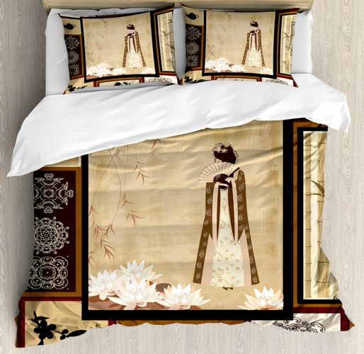 Ambesonne Japanese Duvet Cover Set, Girl in Traditional Dress and Cultural Patterns Ornaments Antique Eastern Collage, 3 Piece Bedding Set with Pillow Shams, Queen-Full, Multicolor