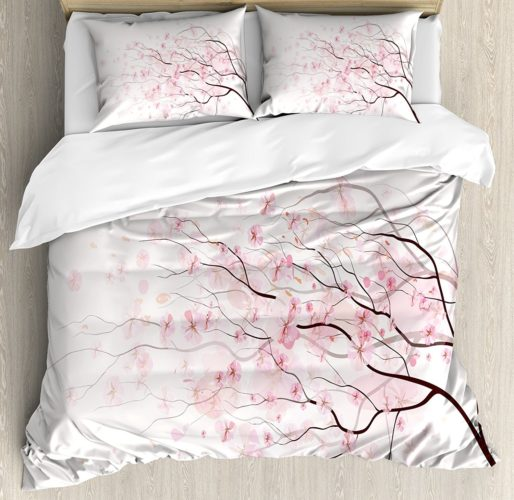 Light Pink King Size Duvet Cover Set by Ambesonne, Artistic Sakura Branch with Cherry Flowers Tender Japanese Spring, Decorative 3 Piece Bedding Set with 2 Pillow Shams, Light Pink Black White