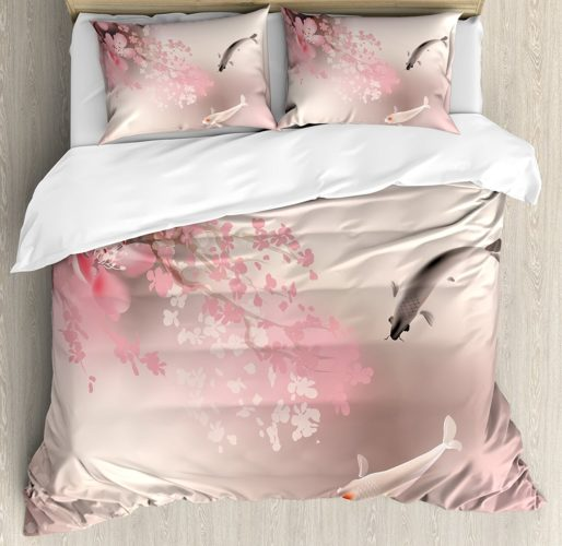 Lunarable Koi Fish Duvet Cover Set Queen Size, Sakura Blossom in Japan with Sacred Creature Asian Culture Lovely Nature Orient, Decorative 3 Piece Bedding Set with 2 Pillow Shams, Light Pink