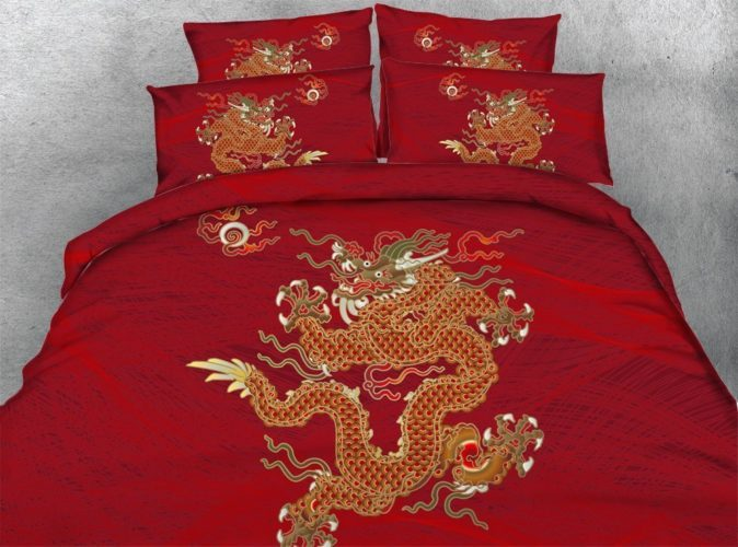 Newrara 3d Digital Bedding 3D Oriental Golden Dragon Printed Cotton and Tencel 4 Piece Red Duvet Cover Sets (Full, Red)