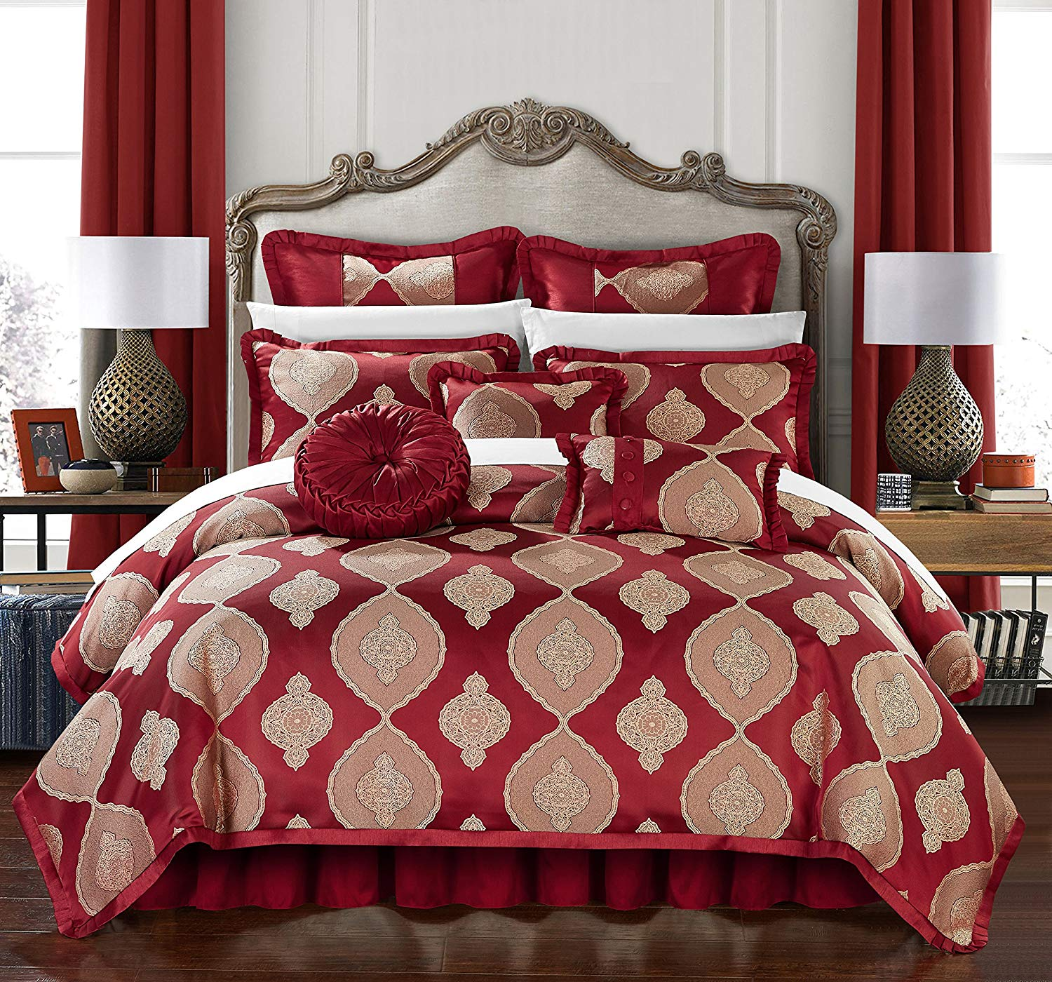 Chic Home Jamay 9 Piece Comforter Set Jacquard Scroll Faux Silk Bedding with Pleated Flange - Bed Skirt Decorative Pillows Shams Included, King Red