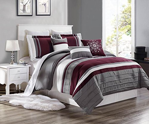 EMPIRE 7 Piece Maroon & Silver Oversized Embroidered Cotton Touch Comforter Set (Queen Size)