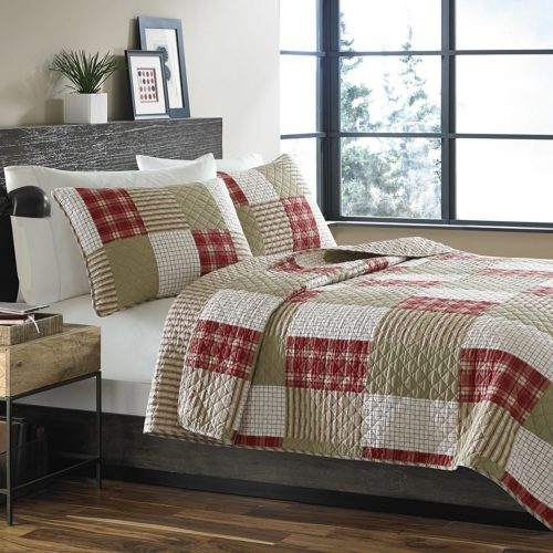 Eddie Bauer Camano Island Reversible Plaid Quilt Set, Red, Twin