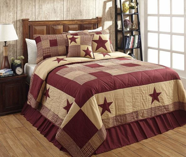 Jamestown Burgundy and Tan Primitive Country Quilt Set - 3 Piece (Queen-Full (3 pc))