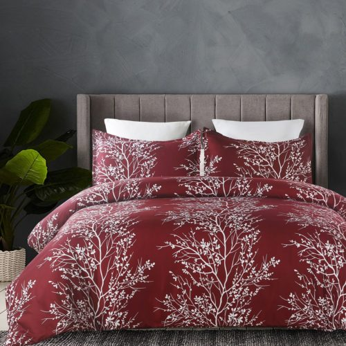 Vaulia Lightweight Microfiber Duvet Cover Set, Printed Pattern Design - Burgundy, King Size