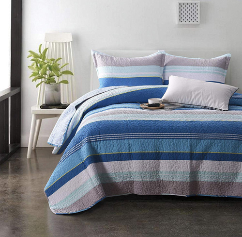 Modern Striped Bedding Set - Brandream Blue Grey Bedding Striped Bedding Set 100% Cotton Bed Quilt Set Queen Size 3Pcs,Reversible