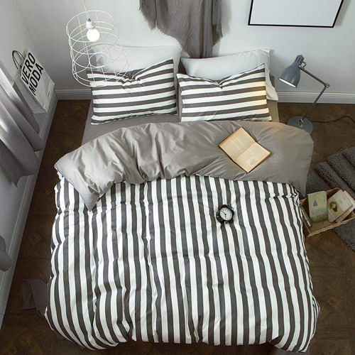BuLuTu White and Grey Striped Print Kids Duvet Cover Sets Queen Cotton Neutral Teen Bedding Collections Full For Boys and Girls Zipper Closure With 4 Corner Ties