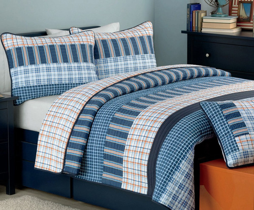 Cozy Line Home Fashions Business Ink Quilt Bedding Set, Navy Orange Grid Striped Print 100% COTTON Reversible Coverlet Bedspread, Gifts for Boy Men Him (Navy Orange, Queen - 3 piece) at lux comfy bedding